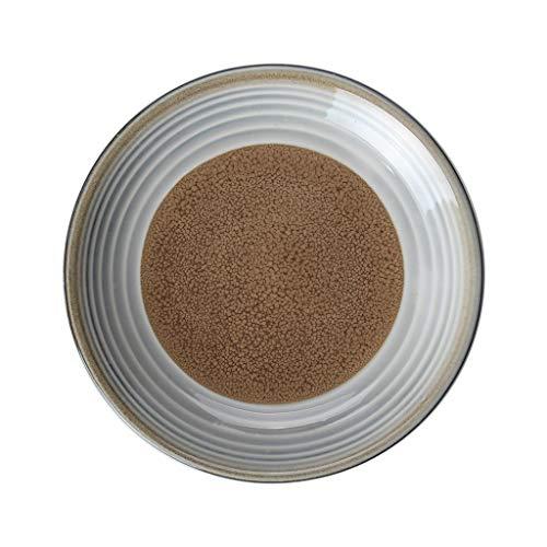 CJW Assiette à salade ronde au jardin émaillée au four - assiette en céramique simple de 22,5 cm (Color : Brown)