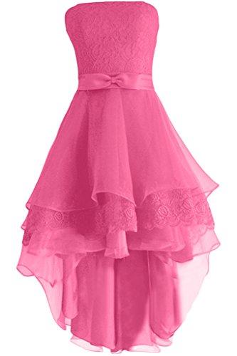 Gorgeous Bride Elegent Traegerlos Kurz A-Linie Satin Organza Spitze  Cocktailkleid Festkleid Ballkleid Rosa