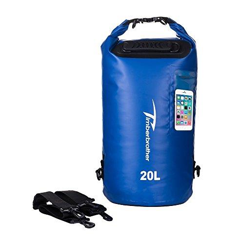 dry sac Timberbrother Wasserdichter Trockentasche Dry Bag / Rollbeutel mit Fenster für Kajak, Kanu, Bootsleine, Angeln, Rafting und Camping (Blau, 10L)