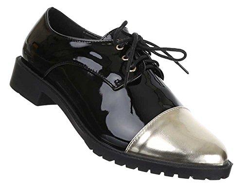 Damen Schuhe Halbschuhe Elegante Schnürer Business schuhe Lackoptik Nr 1 Schwarz