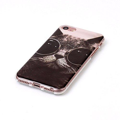 iPhone 7, Serie Niedliche Fashion Muster Colorful Gummi Flexible Silikon Tasche Bumper für Apple Clear Cover-Smart Cat Detektiv mit Brille