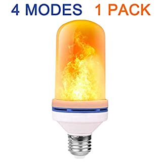 Tooklanet - LED Flame Effect Light Bulb - 4 Modes with Upside Down Effect -1 Pack E27 Base LED Bulb - Flame Bulb for Christmas Home/Hotel/Bar Party Decoration