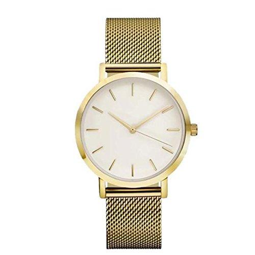 KPILP Armbanduhr Frauen Männer Klassisch Luxusstahl Lässige Strap Quartz Uhren (Gold)
