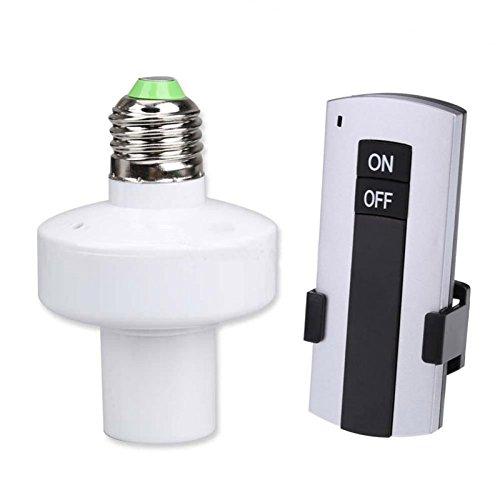 lzndeal 220v Inalámbrica Titular de la lámpara de Control Remoto E27 Lámparas de Tornillo y Las linternas de Control de Remoto del Interruptor Bombillas LED