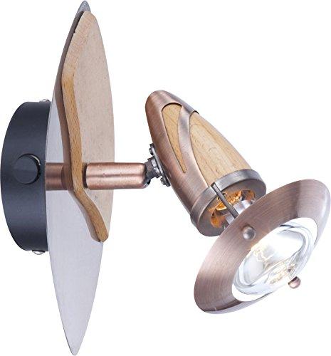 Wandleuchte 1-flammig Lord Farbe (Halterung): Kupfer / Holz (Wandleuchte Kupfer Sonstiges)