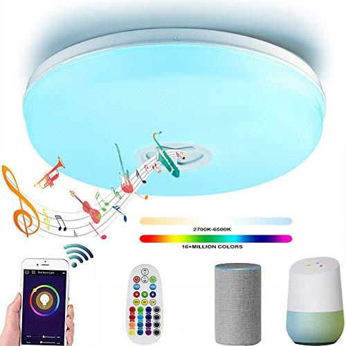 WO NICE Deckenleuchte Mit Smart WiFi Deckenleuchte LED Deckenleuchte Mehrfarbig Dimmbar Mit Bluetooth Lautsprecher Fernbedienung Schlafzimmer Kinderzimmer 905 Bluetooth