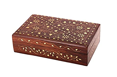 Christmas Gifts Sale Gorgeous Wooden Keepsake Jewellery Trinket Storage Box Organiser with Floral Brass Inlay & Velvet Interior