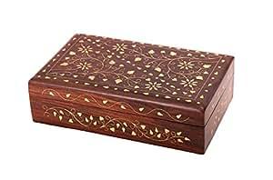 Store Indya, Splendida palissandro Gioielli bagagli Keepsake Decorative Box Organizzatore Con Brass Floral Intarsi & Red Velvet Interni