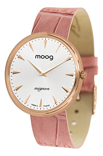 Moog Paris Mignon Women's Watch with Silver Dial, Pink Strap in Genuine Leather - M41681-C41