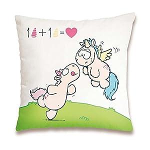 NICI 41882Theodor and Friends Cojín de algodón 1+ 1= Amor, 37x 37cm