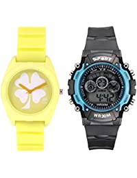 Fantasy World Yellow Watch And Sport Watch Combo For Boys And Girls