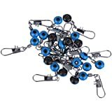 Generic Imported 20Pcs Space Beans Fishing Line To Hook Swivels Shank Clip Connector Blue S
