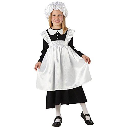 Rubie's Victorian Magd Kostüm. Medium 5-6 Jahre. Höhe bis zu 116cm. Kleid mit angenähter Schürze und Wischmopp Kappe. (Masquerade Kostüm Kinder)