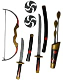 Bow and Arrow Ninja Warrior Katana Dagger Throwing Star Play Set 11 Piece Childrens Fancy Dress Toy
