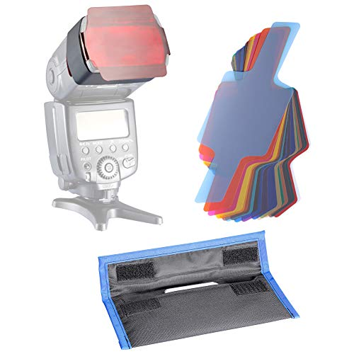 Neewer Fotografie 2,5x5,5 Zoll 20 Stück Farbfolien Blitz Gele farbige Beleuchtungs Gele Farbe Speedlite Filter Set
