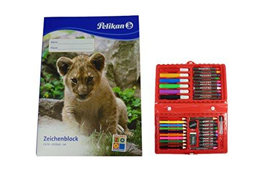 42-teiliger Malkoffer mit Wachsmaler, Öl-Stifte, Bunt- und Filzstifte uvm. + Pelikan Zeichenblock...
