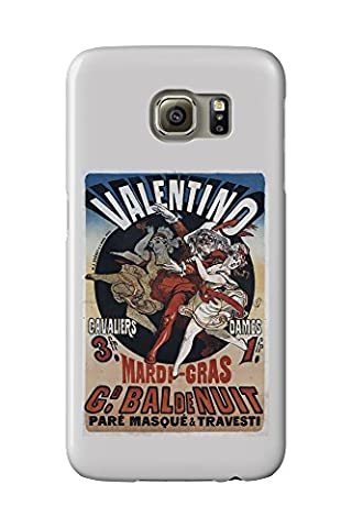 Valentino - Mardi Gras Vintage Poster (artist: Cheret) France c. 1869 (Galaxy S6 Cell Phone Case, Slim Barely There)