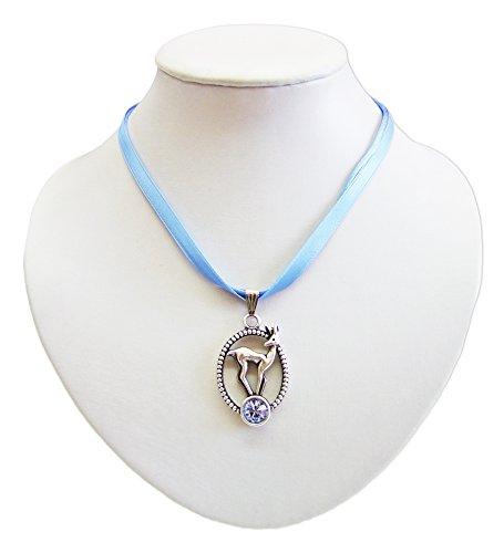 Preisvergleich Produktbild Trachten Halskette mit Reh Anhänger Hellblau - Zauberhafter Schmuck zu Dirndl und Sommerkleidern