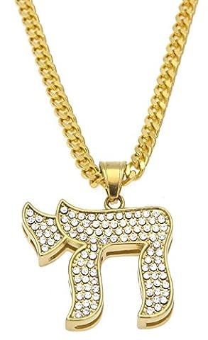AlwaysBling Acier Hip hop Cristaux Symbole juif (CHAI) Pendentif