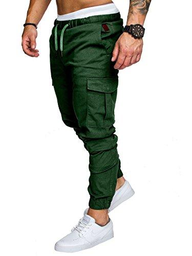 Herren Hose Cargo Chino Jeans Stretch Jogger Sporthose Slim-Fit Freizeithose (Grün, XXXL)