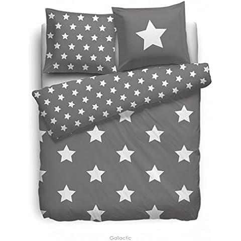 HnL face2face Ropa de cama de franela–Stars gris 155/220| + 1x 80x 80