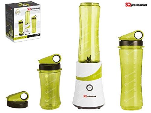 SQ PRO Smoothie Maker Frothy Shake batidora trituradora hielo 300W con 3XTravel botellas y un libre libro de recetas), color rojo, morado, negro, verde
