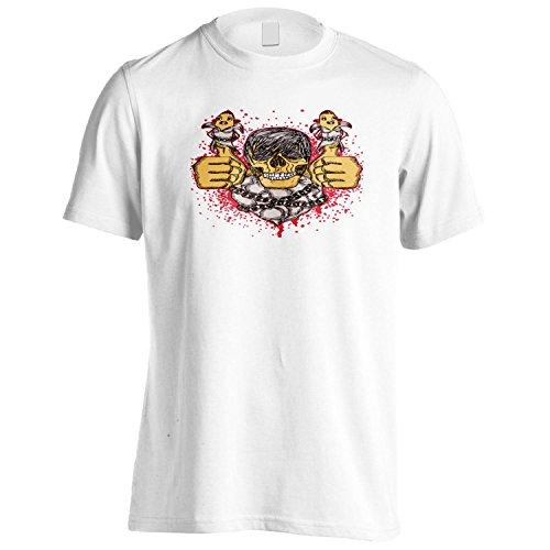 Cranio Demone Novità Arte Vintage Divertente Uomo T-shirt oo46m White