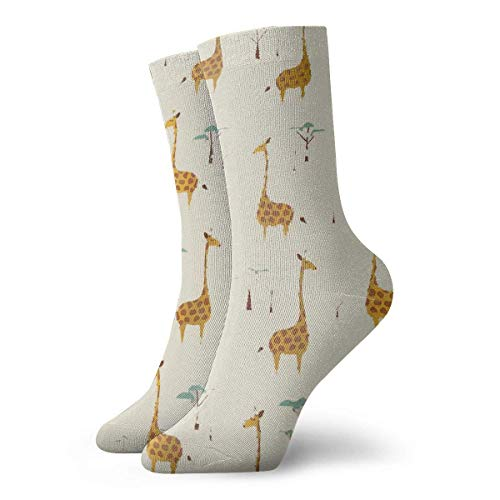 AORSTAR Socken Socks Breathable Nature Style Giraffes Crew Sock Exotic Modern Women & Men Printed Sport Athletic Socks 11.8in (6 Socke Pack Athletic-crew)