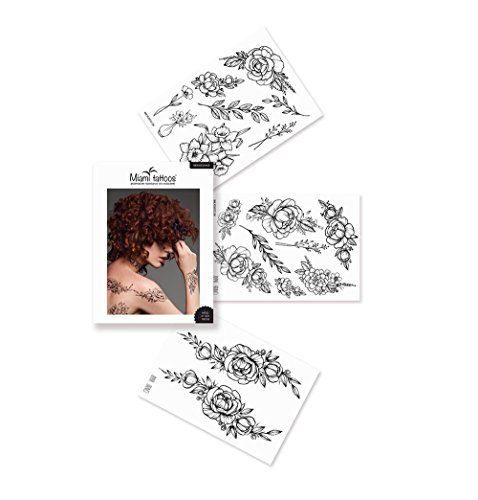 Miami Tattoos BLACK TATTOO COLLECTION, temporäre tattoos schwarz, 3 blätter, 20 x 15 cm...