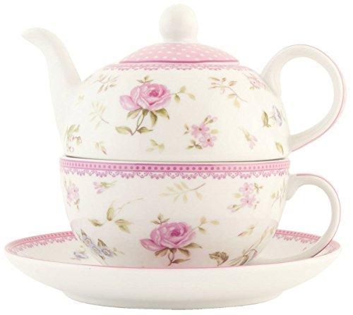 Clayre & Eef Théière avec tasse Blanc/rose