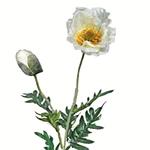 kunstblumen mohn poppy papaver deluxe gro 80 cm wei k nstlich deko blumen textilblumen. Black Bedroom Furniture Sets. Home Design Ideas