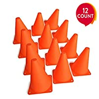 Mydio Set of 12 Orange Sports ConesSport Training Traffic Cones Activity Cone for Kid and Adult- 7 Inch