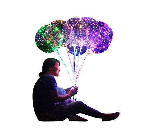 Hniunew Spielzeug Party Ballon Wiederverwendbar Latex Clear Glow Luftballons Helium Ballons Leuchtende Laterne Runde Blase Dekor Mit Tube Hochzeit Geschenk Baby-Duschen, Weihnachten (Mehrfarbig)