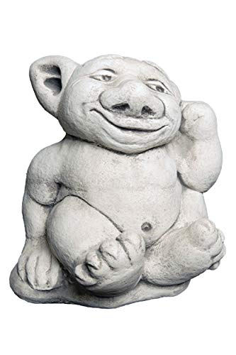 gartendekoparadies.de Großer massiver XXL Troll Finger im Ohr Gnom Wichtel Kobold aus Steinguss