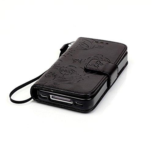 Mk Shop Limited Coque pour iPhone 4 4S,PU Cuir Flip Magnétique Portefeuille Etui Housse de Protection Coque Étui Case Cover avec Stand Support pour Apple iPhone 4 4S Multi-couleur 5