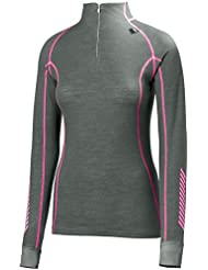 Helly Hansen W HH Warm Freeze 1/2 Zip - Camiseta para mujer, color gris, talla L