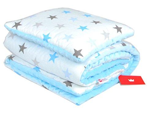 BABYLUX Babydecke Krabbeldecke MINKY Kuscheldecke Decke 75 x 100 cm mit KISSEN 30x35cm (9K. Blau + Sterne)