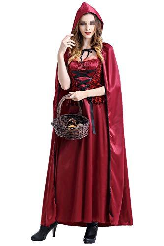 Disfraces de Halloween de Navidad para Mujer Disfraz de Bruja Sexy Vestido de Princesa Reina Medieval con el Cabo Rojo, M