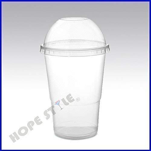 100 X Trasparente Bicchieri Di Plastica Succo Di Frutta Smoothie Milkshake + Cupola & Piatto Coperchi Resistente