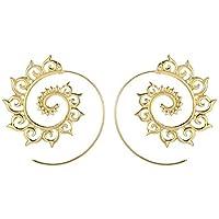 fablcrew Vintage pendientes de aro redondo espiral Gear pendientes para las mujeres joyas accesorios, Aleación, dorado, 4.7cm