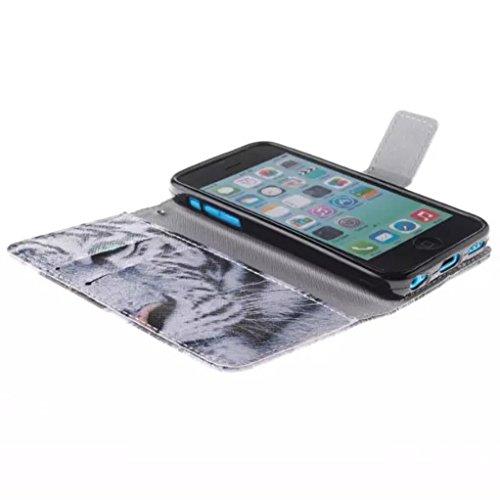 """Trumpshop Smartphone Case Coque Housse Etui de Protection pour Apple iPhone 6/6s Plus 5.5"""" Séries Animal (Lion) Portefeuille PU Cuir Avec Fonction Support Anti-Choc Anti-Rayures Tigre"""