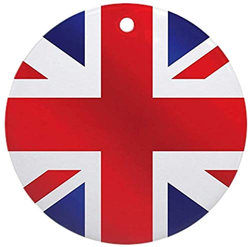 Round Festive Family Ornament - Union Jack UK Flag Personalized Custom Handmade Holiday Christmas Ornament Ideas 2019 -
