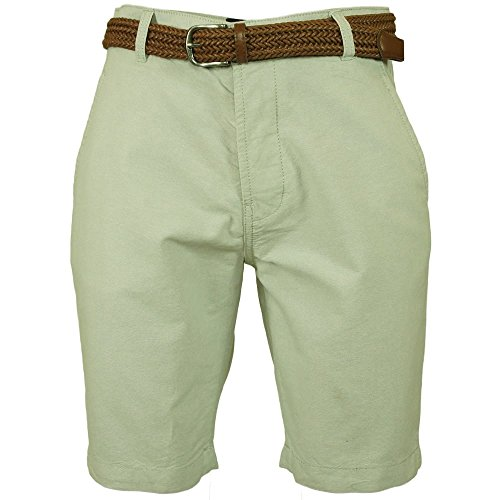 Mens Threadbare Magician Oxford Chino Cotton Knee Length Shorts With Belt