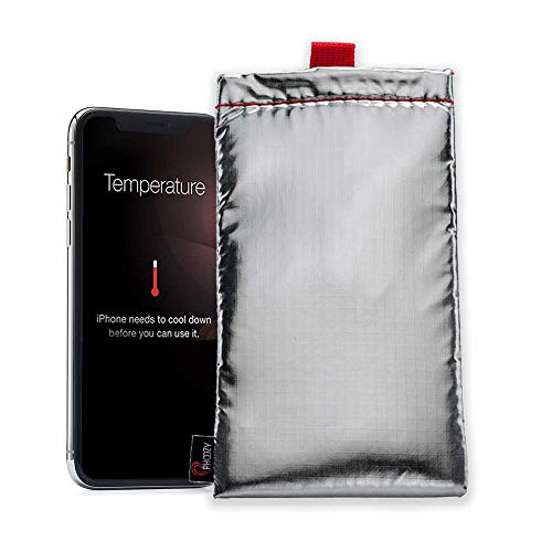 Phoozy Apollo XL - Smartphone Schutzhülle I Hitze- & Kälteresistent I Wasserdicht I Handysocke mit Aufprallschutz I Integriertem Displayschutz | Energiesparend, Batterielaufzeit Verlängern - Silber -