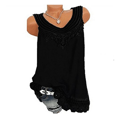 IMJONO Damen O-Neck Pure Color Lace Vest Tops Blouse