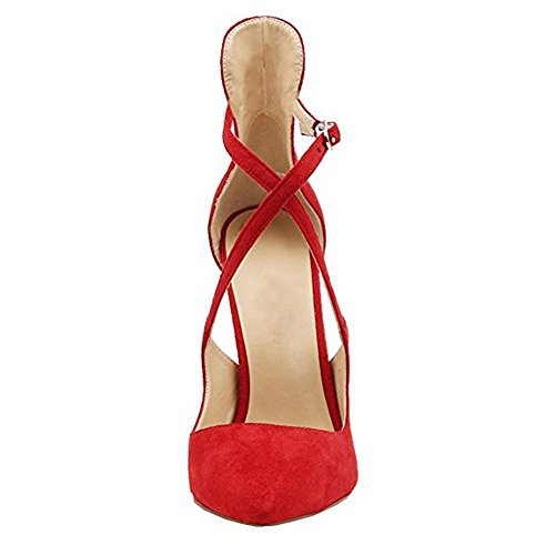 Damen Spitze Zehen Sandalen Lack High-Heels Stiletto Criss Cross Hochzeit Party Samt Rot