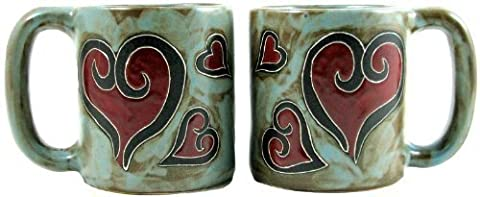 Set Of Two (2) MARA STONEWARE COLLECTION - 16 Oz. Coffee Cup Collectible Dinner Mugs - Heart Design by Mara