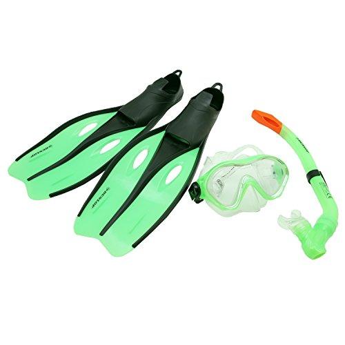 Profi Schnorchel Set DUNLOP Schwimmflossen Taucherbrille Tauchmaske Kinder Jugend Erwachsene Größe 32-42 (Grün, 32-34)