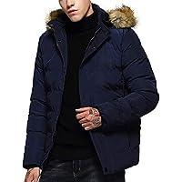 DEELIN Hombres De Moda De Invierno con Capucha De Color Puro Forro Polar Y Engrosado De AlgodóN Acolchado Abrigo Chaqueta Caliente Envasable Abajo Chaqueta