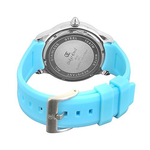Oskar Emil, klassische Uhren, Uhr Damenuhr Classic Oskar Emil mit Strass blau Iris women'Armbanduhr Analog Silikon blau Blue Iris - 2